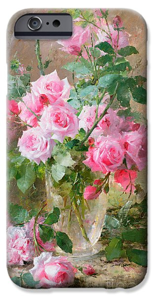 Pink Roses iPhone Cases - Still life of roses in a glass vase  iPhone Case by Frans Mortelmans