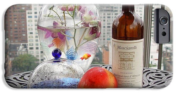 Table Wine Digital iPhone Cases - Still Life on Balcony  iPhone Case by Madeline Ellis