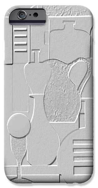 Black And White Reliefs iPhone Cases - Still Life Paper Relief iPhone Case by Mal Bray