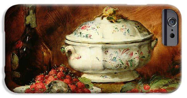 Wine Canvas Paintings iPhone Cases - Still Life with a Soup Tureen iPhone Case by Guillaume Romain Fouace