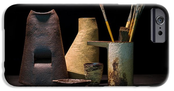 Still Life Ceramics iPhone Cases - Still Life with Brushes iPhone Case by William Sulit