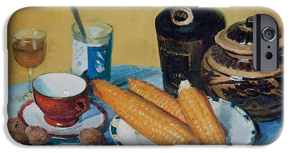 Wine Bottles iPhone Cases - Still Life with Corns iPhone Case by T Wang