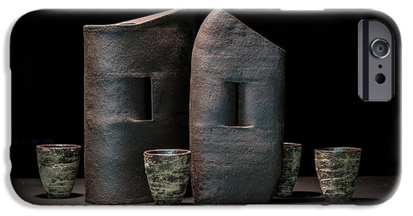 Still Life Ceramics iPhone Cases - Still Life with Cups iPhone Case by William Sulit