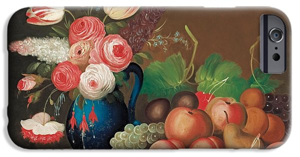 Strawberry Art iPhone Cases - Still life with fruit and flowers iPhone Case by William Buelow Gould