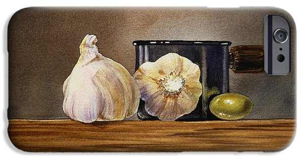 Old Masters iPhone Cases - Still Life With Garlic and Olive iPhone Case by Irina Sztukowski