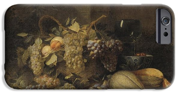 Basket iPhone Cases - Still Life With Grapes Basket iPhone Case by Attributed To Wouter Mertens