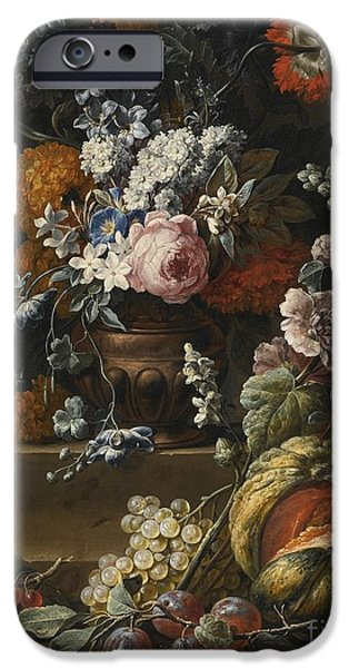 Ledge iPhone Cases - Still Life With Hollyhock iPhone Case by Gaspar Peeter Verbruggen the Younger