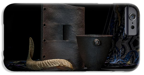 Still Life Ceramics iPhone Cases - Still Life with Horn iPhone Case by William Sulit