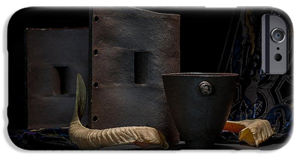 Still Life Ceramics iPhone Cases - Still Life with Horns iPhone Case by William Sulit