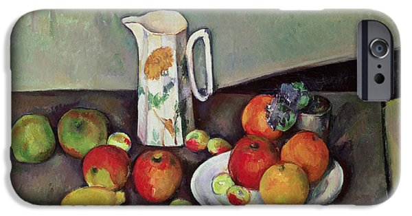 Pottery Paintings iPhone Cases - Still life with milkjug and fruit iPhone Case by Paul Cezanne