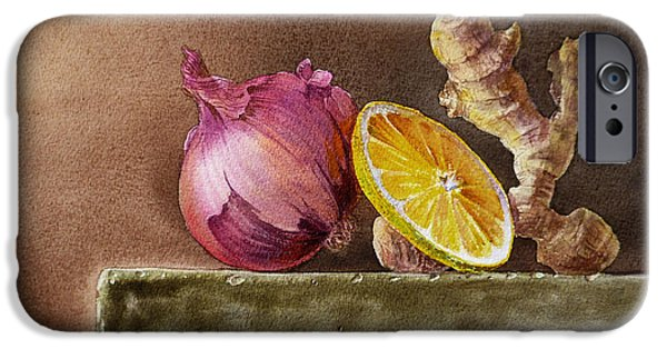 Museum Paintings iPhone Cases - Still Life With Onion Lemon And Ginger iPhone Case by Irina Sztukowski