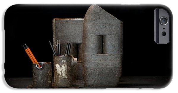 Still Life Ceramics iPhone Cases - Still Life with Pencils iPhone Case by William Sulit
