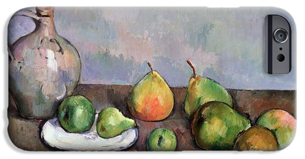 Pitcher iPhone Cases - Still Life with Pitcher and Fruit iPhone Case by Paul Cezanne