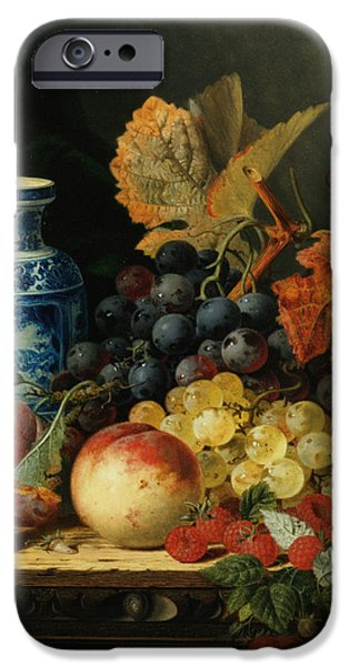 Pare iPhone Cases - Still Life With Rasberries iPhone Case by Edward Ladell