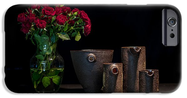 Rose Ceramics iPhone Cases - Still Life with Roses iPhone Case by William Sulit