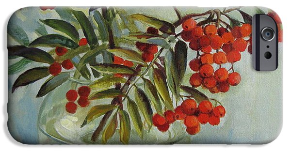 Berry iPhone Cases - Still life with rowan iPhone Case by Elena Oleniuc