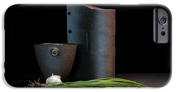Still Life Ceramics iPhone Cases - Still Life with Shallots iPhone Case by William Sulit