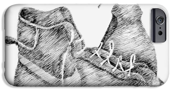 Nike Drawings iPhone Cases - Still Life with Shoe and Spray Bottle iPhone Case by Michelle Calkins