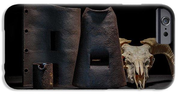 Still Life Ceramics iPhone Cases - Still Life with Skull iPhone Case by William Sulit