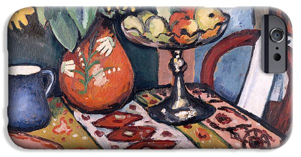 Interior Still Life Paintings iPhone Cases - Still Life with Sunflowers II iPhone Case by August Macke