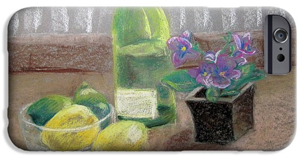 Wine Bottles iPhone Cases - Still Life with Wine and Citrus iPhone Case by Heidi Douhab