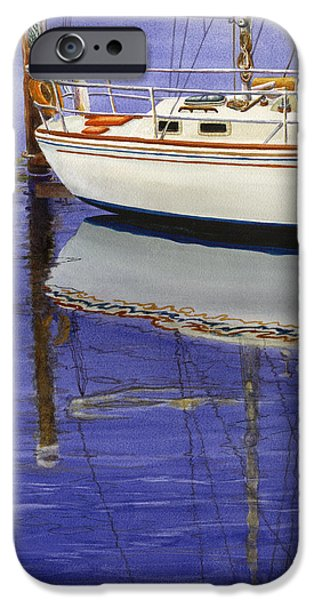 Sailboats Paintings iPhone Cases - Still Water iPhone Case by Karen Wright