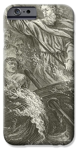 Son Of God Drawings iPhone Cases - Stilling the tempest  iPhone Case by English School