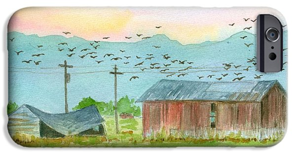 Old Barns Drawings iPhone Cases - Stillwater Birds at Sunrise iPhone Case by Cathie Richardson