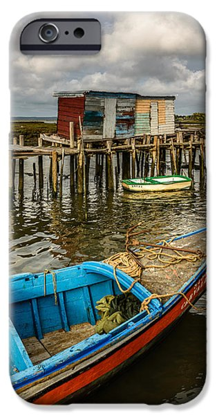 Ocean Sunset iPhone Cases - Stilt Houses In Historic Pier II iPhone Case by Marco Oliveira