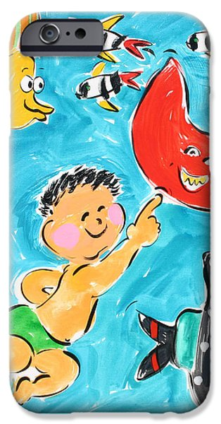 Sally Huss iPhone Cases - Stingray and Fish Friends iPhone Case by Sally Huss