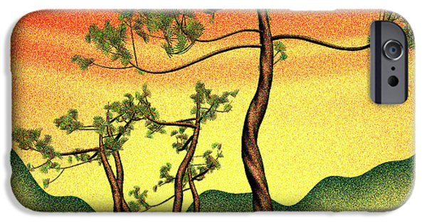 Pines iPhone Cases - Stippling geometric pine iPhone Case by GuoJun Pan