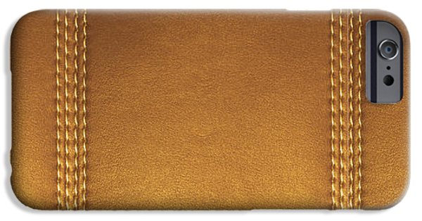 Business iPhone Cases - Stitched  Leather Look Golden  Squares for Wall Decorations iPhone Case by Navin Joshi