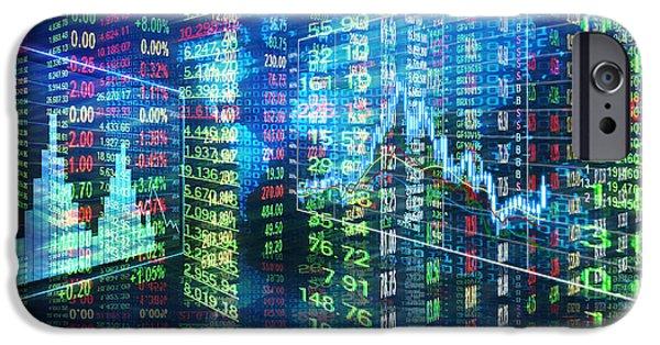 Charts iPhone Cases - Stock Market Concept iPhone Case by Setsiri Silapasuwanchai