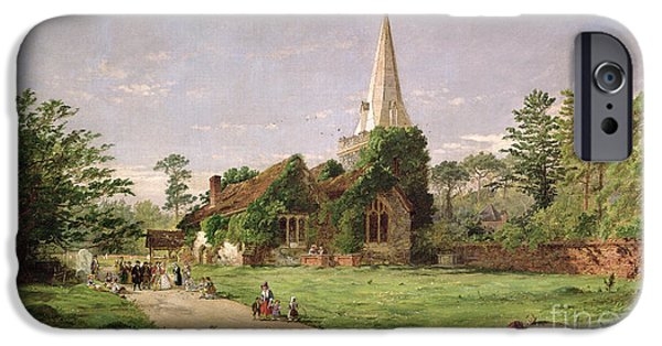 Rural Schools iPhone Cases - Stoke Poges Church iPhone Case by Jasper Francis Cropsey