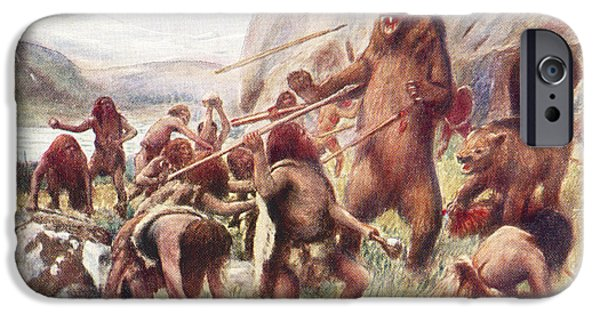 Animal Drawings iPhone Cases - Stone Age Man Hunting Wild Bears. After iPhone Case by Ken Welsh