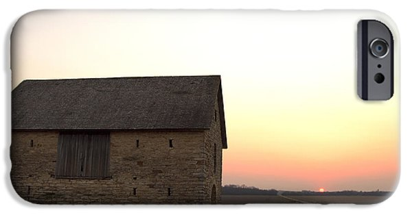 Old Barns iPhone Cases - Stone barn at sunset iPhone Case by Erin  Kelly