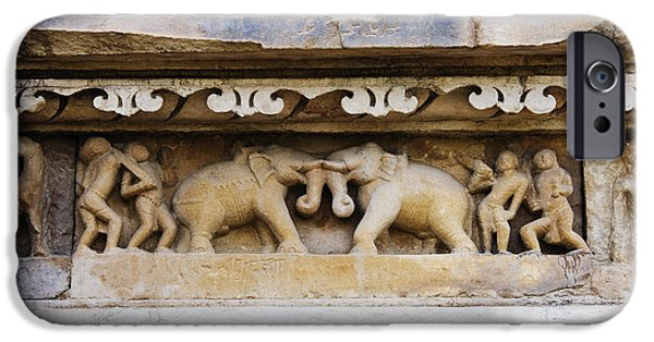 Stone Carving iPhone Cases - Stone Carvings in Old Temples at Khajuraho iPhone Case by Jeremy Woodhouse