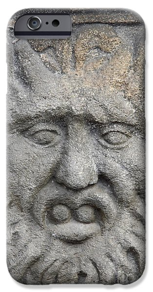 Signed Sculptures iPhone Cases - Stone Face iPhone Case by Michal Boubin