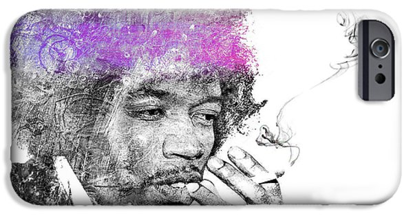 James Marshall Jimi Hendrix iPhone Cases - Stone Free iPhone Case by Mal Bray