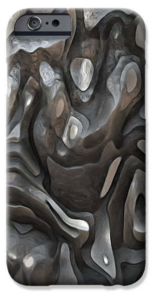 Abstract Digital Paintings iPhone Cases - Stone Or Metal Forms iPhone Case by Jack Zulli