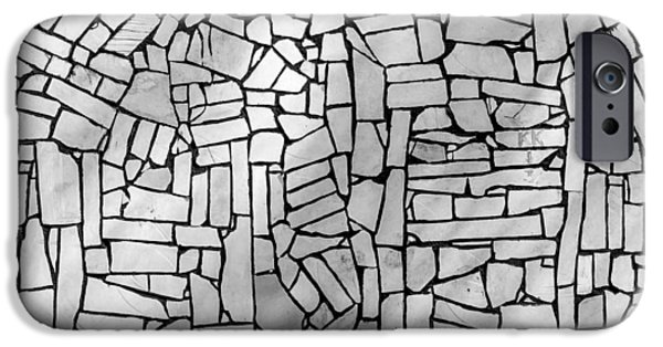 Built Structure iPhone Cases - Stone Tile Abstract Wall iPhone Case by John Williams