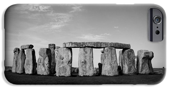Canadian Photographer iPhone Cases - Stonehenge On a Clear Blue Day BW iPhone Case by Kamil Swiatek
