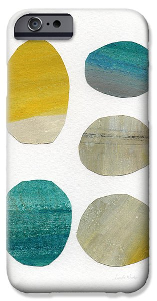 Modern Abstract Mixed Media iPhone Cases - Stones- abstract art iPhone Case by Linda Woods