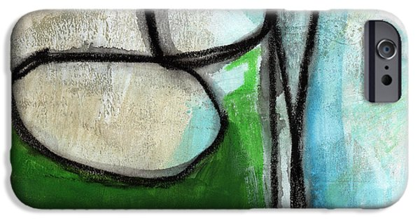 Geometric Art iPhone Cases - Stones- Green and Blue Abstract iPhone Case by Linda Woods