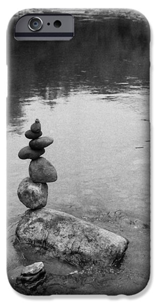 River Sculptures iPhone Cases - Stones over looking pool. iPhone Case by Kai Drachenberg