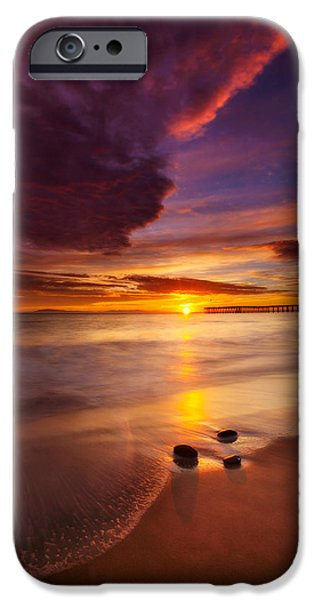 Ventura California iPhone Cases - Stones Water and Sky iPhone Case by Dan Holmes