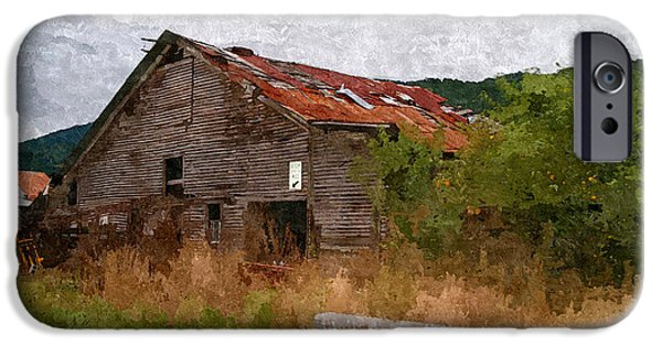 Old Barns iPhone Cases - Stop Here On Red iPhone Case by Karin Everhart