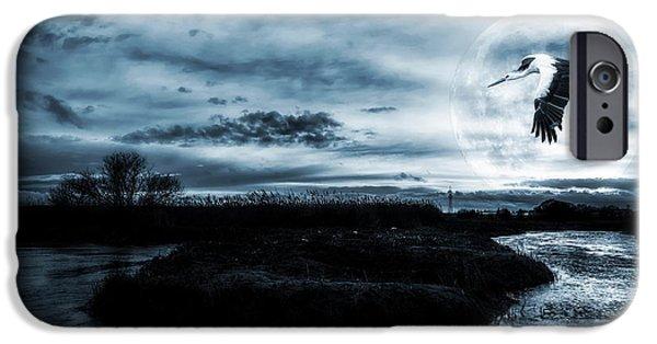 Monochromatic Digital Art iPhone Cases - Stork in Moonlight iPhone Case by Jaroslaw Grudzinski