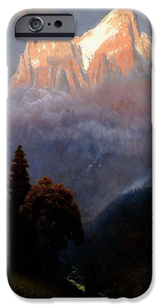 Hudson River iPhone Cases - Storm Among the Alps iPhone Case by Albert Bierstadt