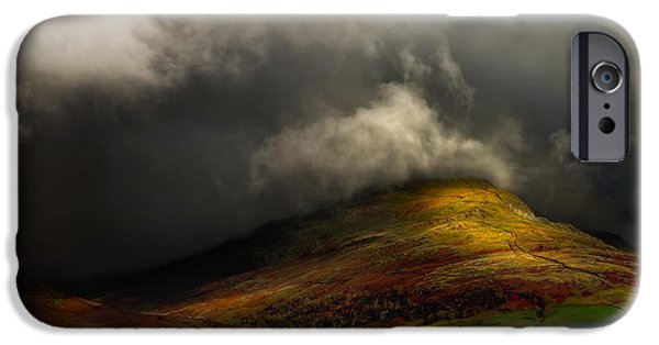 Dappled Light Photographs iPhone Cases - Storm Brewing Over Hawkshead iPhone Case by Meirion Matthias